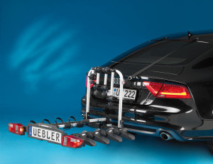 F42 towbar rack (Part N° 15840) extra large for transporting 4 bikes easily and safely. Incl. 2 extra tensioning straps to be attached to the vehicle.